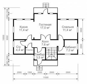 """Проект дома """"11 на 6"""" план первого этажа"""