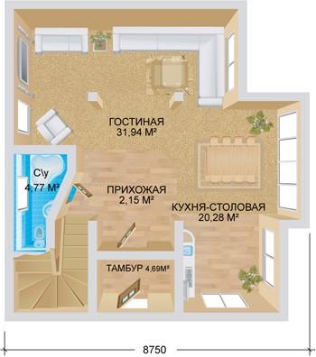 """Проект дома """"Европа"""", план первого этажа"""