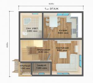 """Проект дома """"Котка"""", план первого этажа"""