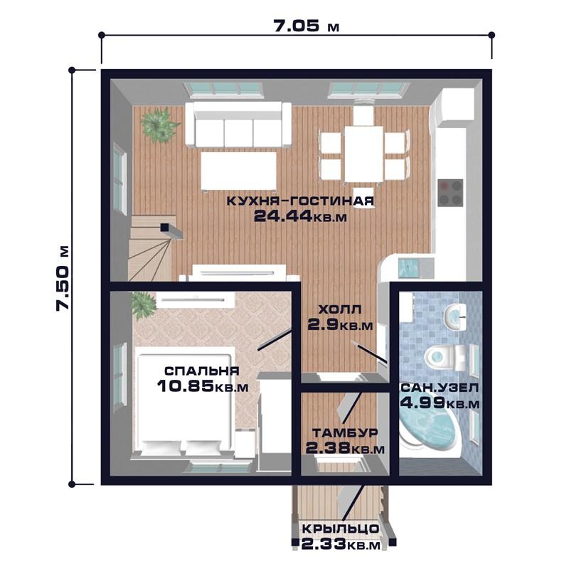"Проект дома ""Брест"", план первого этажа"