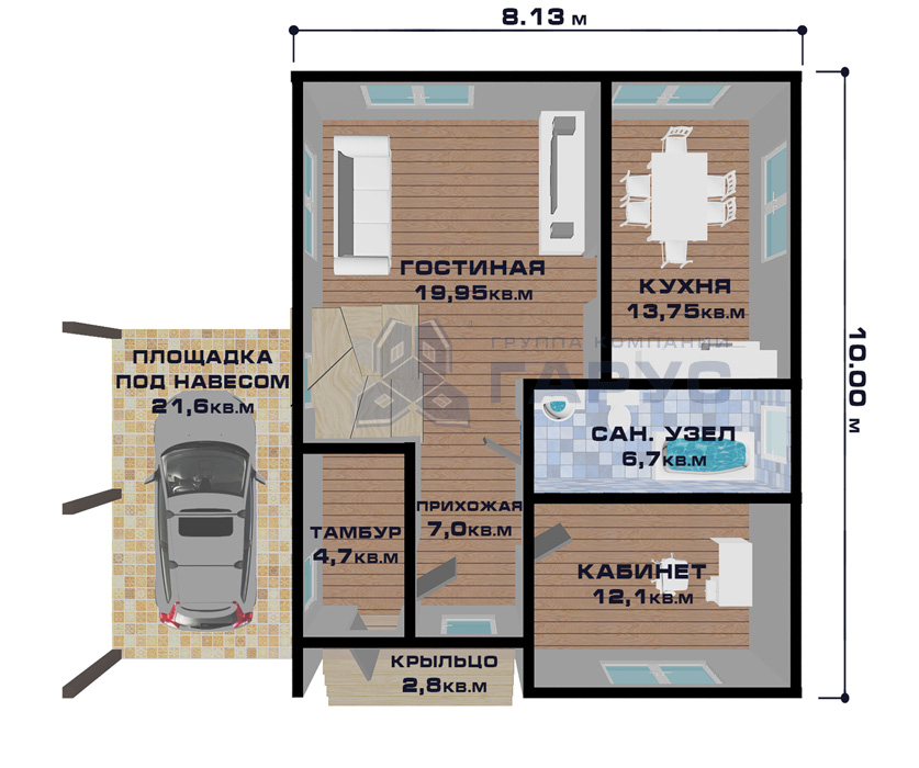 """Проект дома """"Таллин"""", план этажа"""