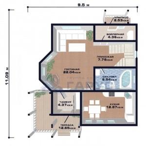 """Проект дома """"Люксембург"""", план первого этажа"""