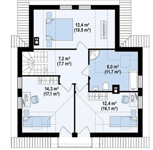"""Проект дома """"Балтика"""" план второго этажа"""