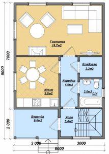 """Проект дома """"Яуза"""", план первого этажа, БалтСипДом"""