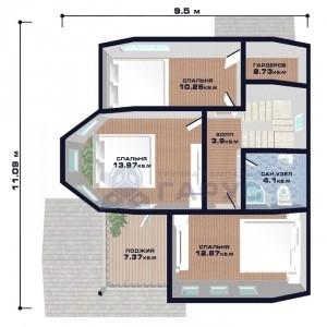 """Проект дома """"Люксембург"""", план второго этажа"""