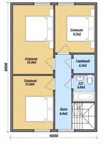 """Проект дома """"Яуза"""", план второго этажа, БалтСипДом"""
