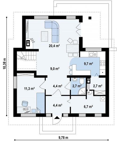 """Проект дома """"Балтика"""" план первого этажа"""
