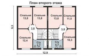 Дом на двух хозяев, план второго этажа