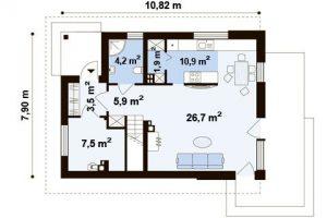 """Проект дома """"Куб 2"""" план первого этажа"""