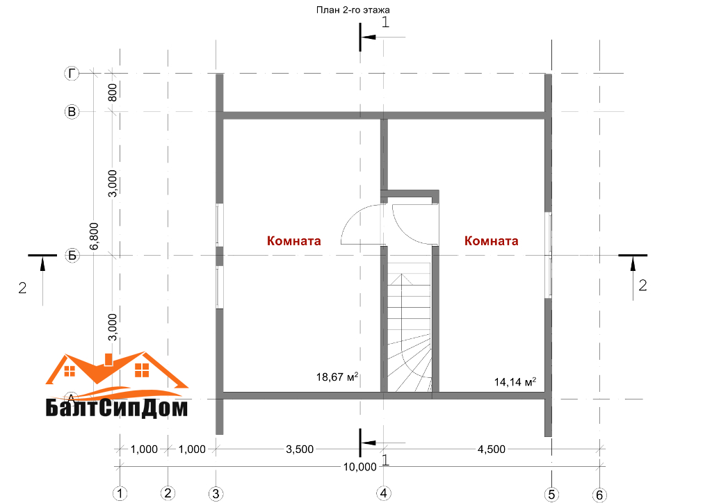 Проект SIP дома, план вторго этажа