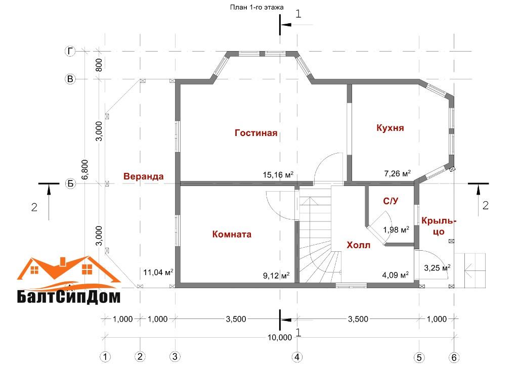 Проект SIP дома, план первого этажа
