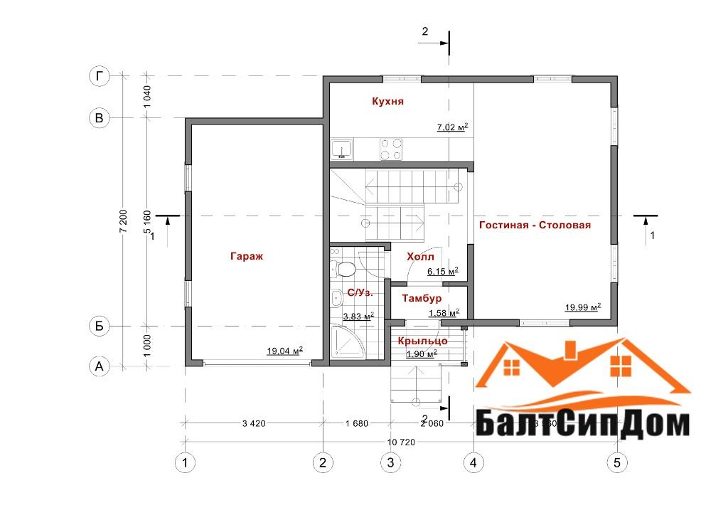 Проект дома, план первого этажа с гаражом