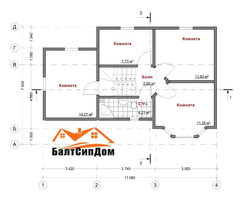 Проект дома, план второго этажа, БалтСипДом