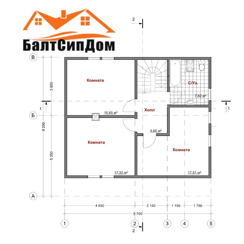 Проект дома из SIP панелей, план второго этажа