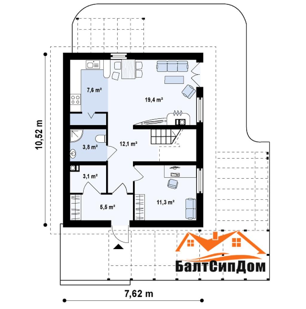 Проект дома, план первого этажа, БалтСипДом