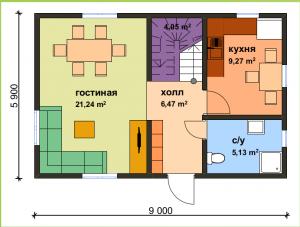 Проект дома из СИП панелей по военной ипотеке. Первый этаж