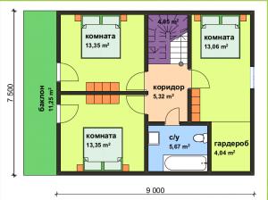 Проект дома из СИП панелей по военной ипотеке. Второй этаж