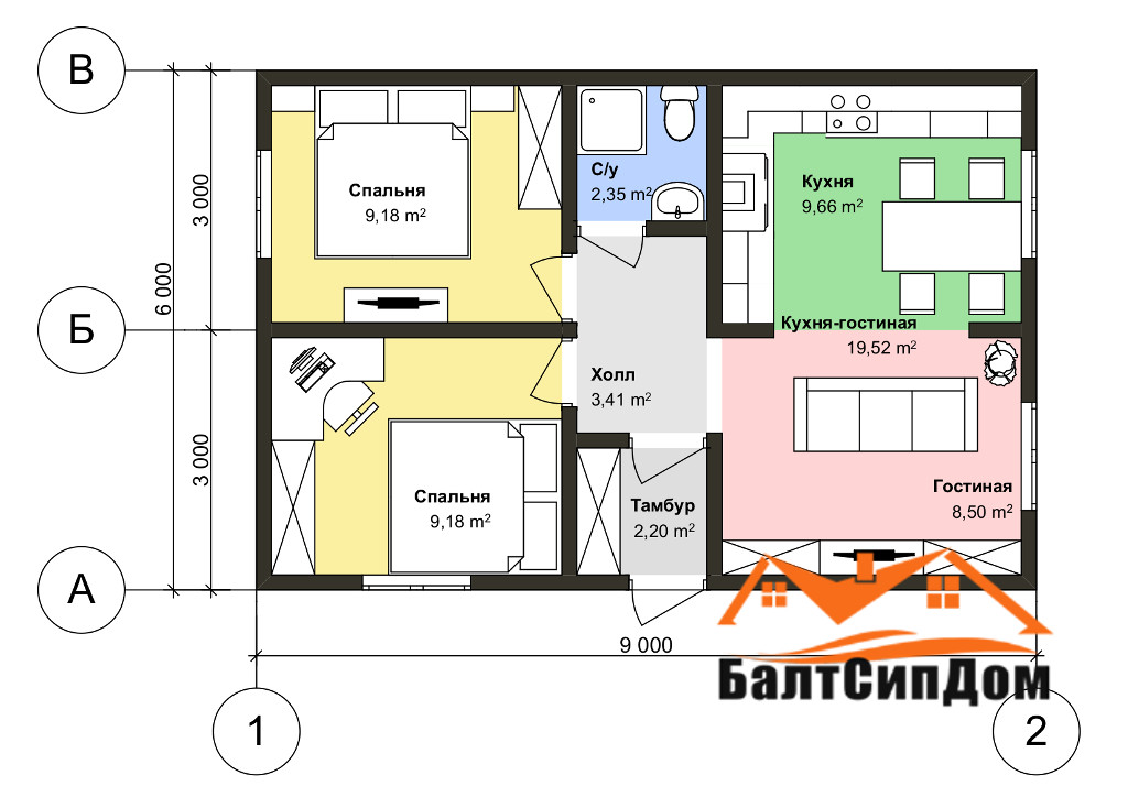 Проект дома из СИП панелей - план этажа
