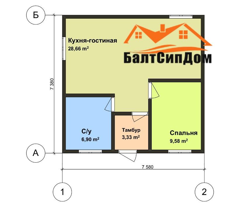 Проект каркасного дома - план 1 этажа