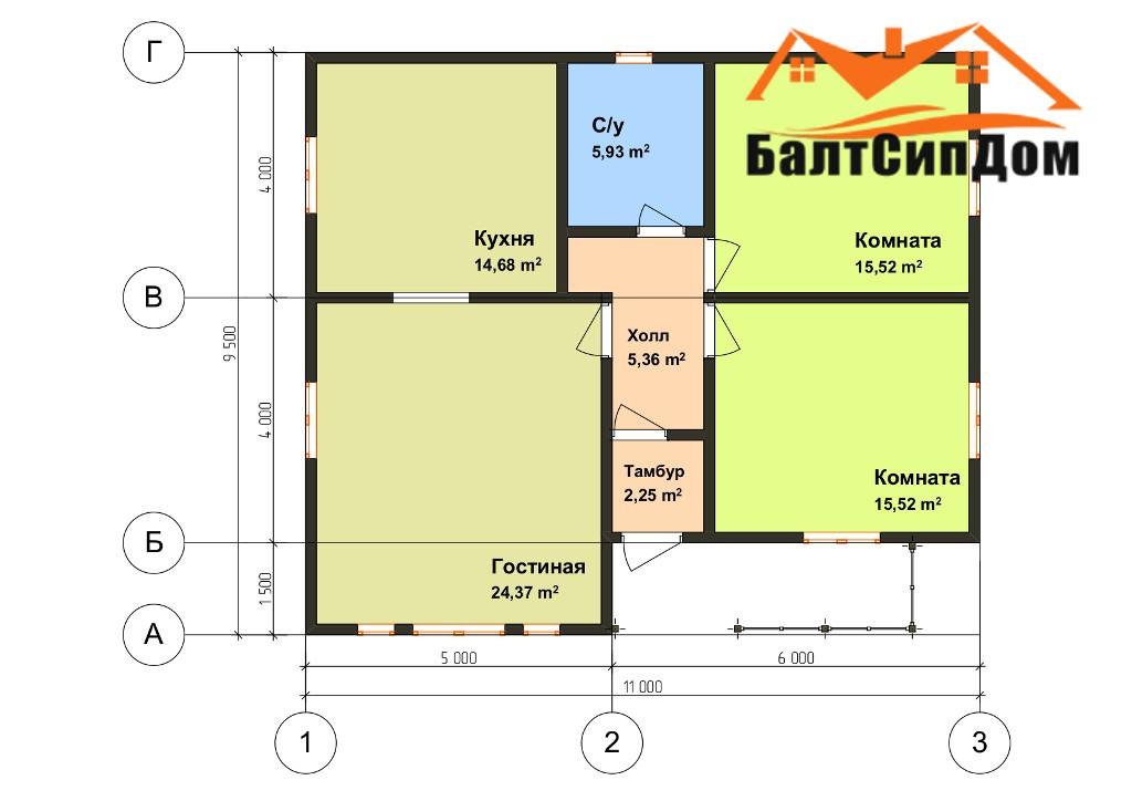 Сип дом (домокомплект из СИП панелей) - план 1 этажа