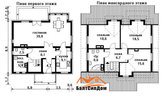 Сип дом (домокомплект из СИП панелей) - план этажей