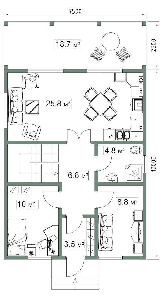 СИП дом. План первого этажа