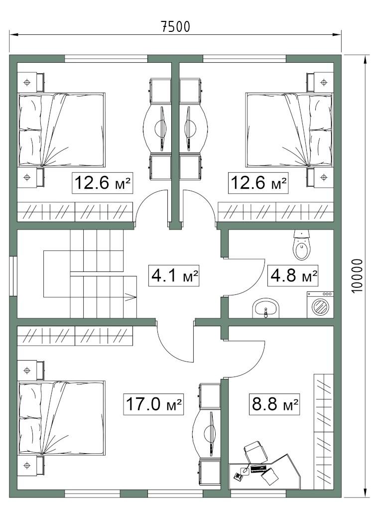 СИП дом. План второго этажа