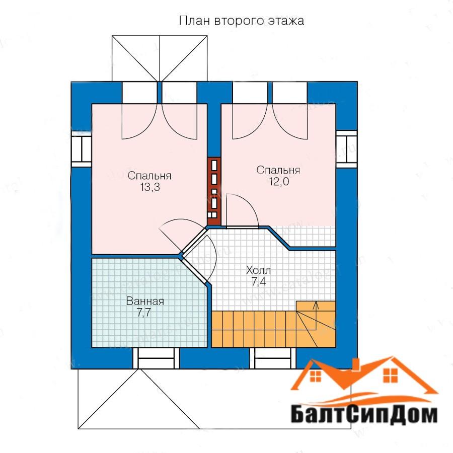 Проект дома, план втрого этажа
