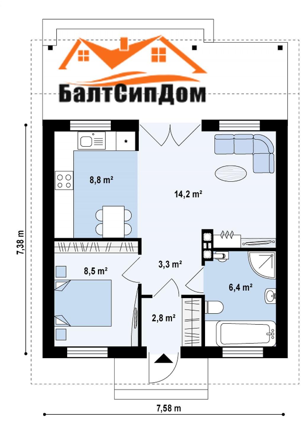 Проект дома из сип панелей, план этажа
