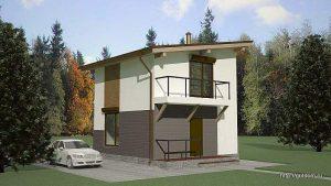 Проект двухэтажного дома СИП-41 площадью 72 м2 эскиз 1